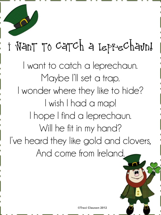 ... at Dragonflies in First to come up with this St. Patrick's Day Poem