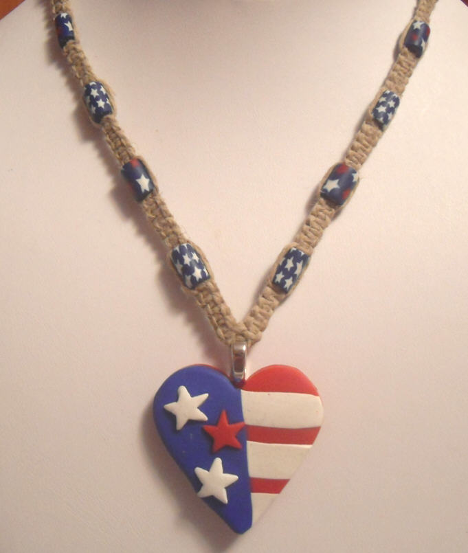 Artsy clay creations inspirations unique patriotic jewelry these are going to a gift shop but we would be happy to make you something similar for special orders email me here visit joys shop here joys hemp aloadofball Images