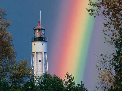 beautiful lighthouses with rainbow