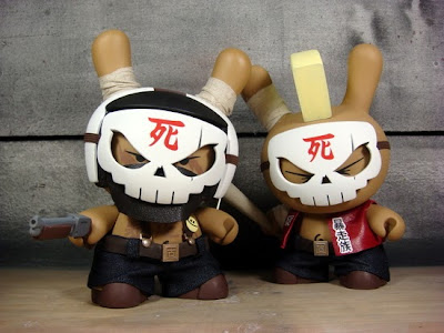 The Skullheads (Baseball & Boso) Custom Dunny Vinyl Figures by Huck Gee