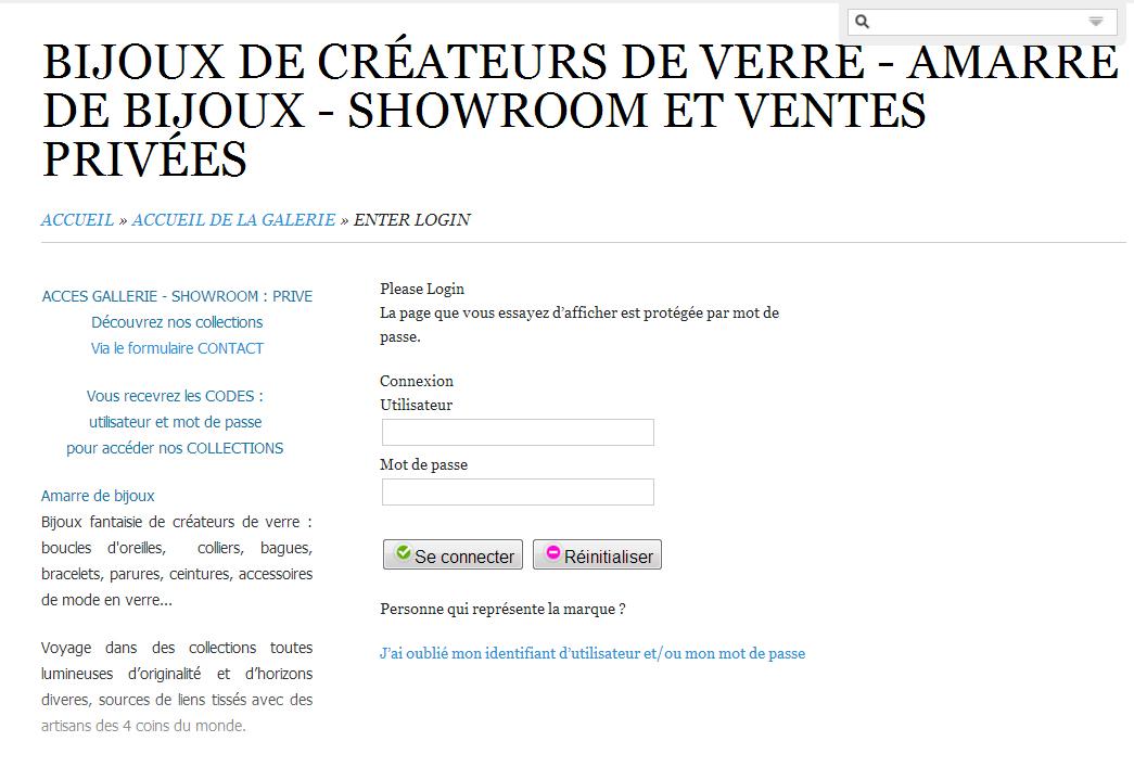 Showroom et ventes privées - Amarre de bijoux