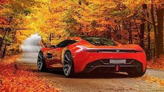 Aston Martin en el paisaje de otoño