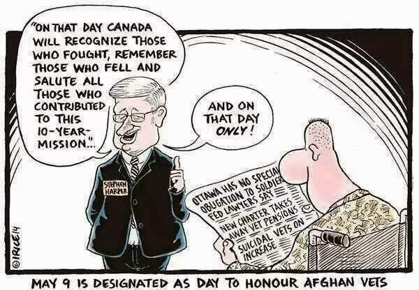Political Cartoon depicting Harper Government treatment of Afghan service from Canada Veteran Advocacy