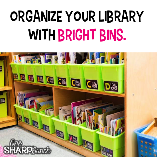 library organization, really good stuff, kinder craze, easy teaching tools, one sharp bunch, leveled books, library