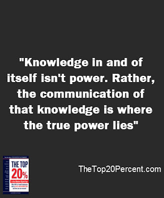 Knowledge in and of itself isn't power. Rather, the communication of that knowledge is where the true power lies