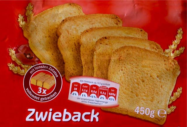 "Zwiebackverpackung: ""mit feinsten Zutaten 3 x vollendet gebacken"" ..."