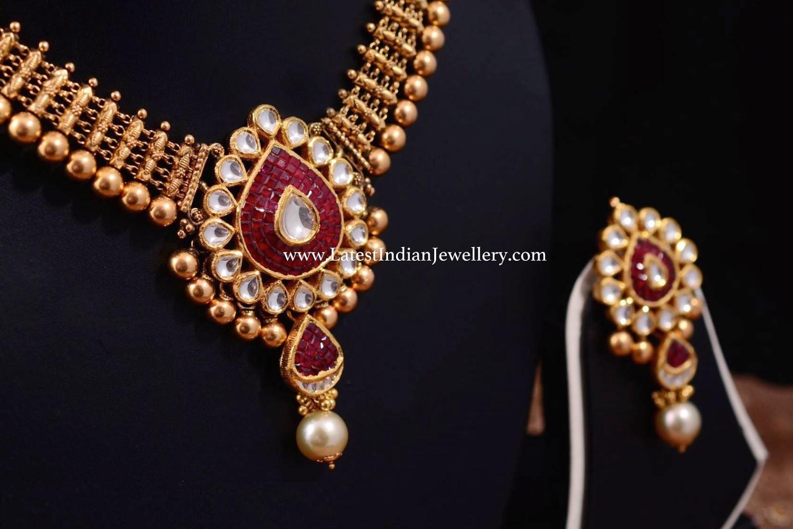 Antique Necklace Kundan Ruby Pendant