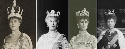 Queen Mary wearing Cullinan III and IV in her Crown (left), Coronet (2nd left), Delhi Durbar Tiara (2nd right), and as a brooch suspended from the Coronation necklace, together  with Cullinans I and II in a brooch setting (left)