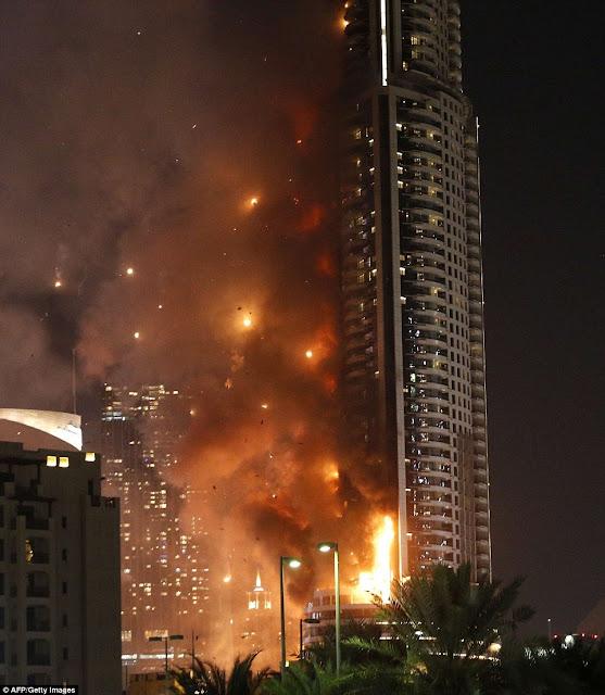 HUGE fire engulfs luxury Dubai hotel ahead of New Year celebrations