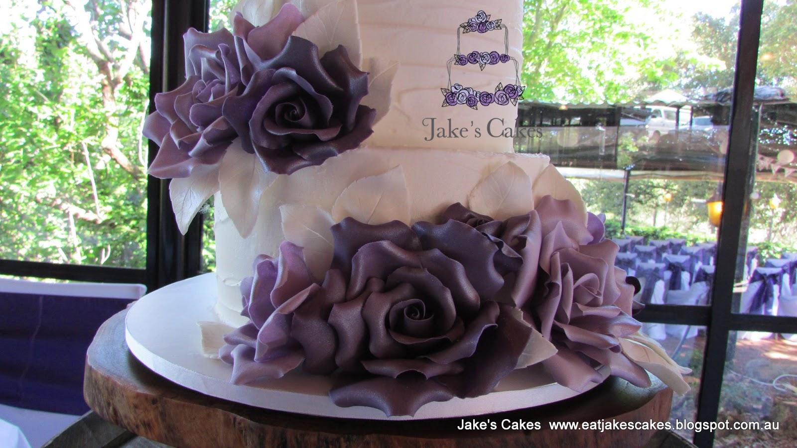 Jake s Cakes Purple Rose Rustic Wedding Cake