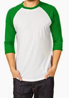 Kaos-polos-raglan-putih-hijau
