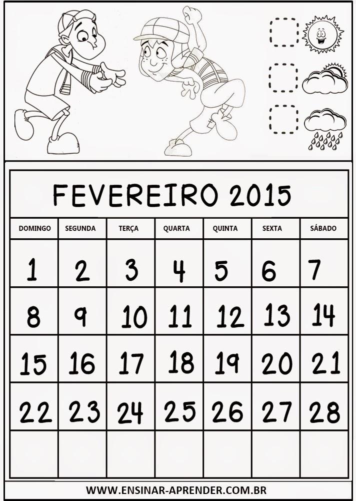 CALENDÁRIO PARA CADERNO TURMA DO CHAVES - 2015
