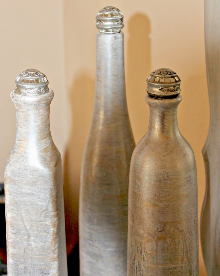 Martha Stewarts metallic paints used on bottle vase makeover at One More Time Events.com#marthastewartmetallicglazes