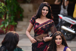 Shamili lovely Indian model in Stunning Black and Red Transparent Saree and Choli Blouse