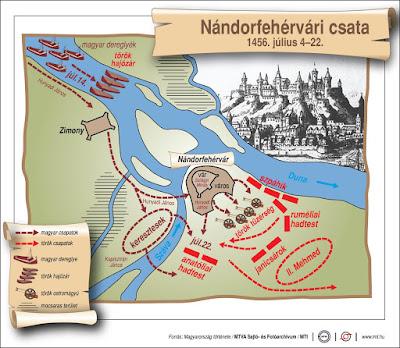 történelem, nándorfehérvári csata, Hunyadi János, Kapisztrán János, Szilágyi Mihály, II. Mehmed,
