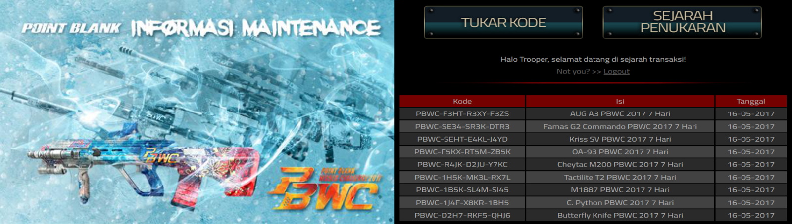 Redeem Code PBWC Series