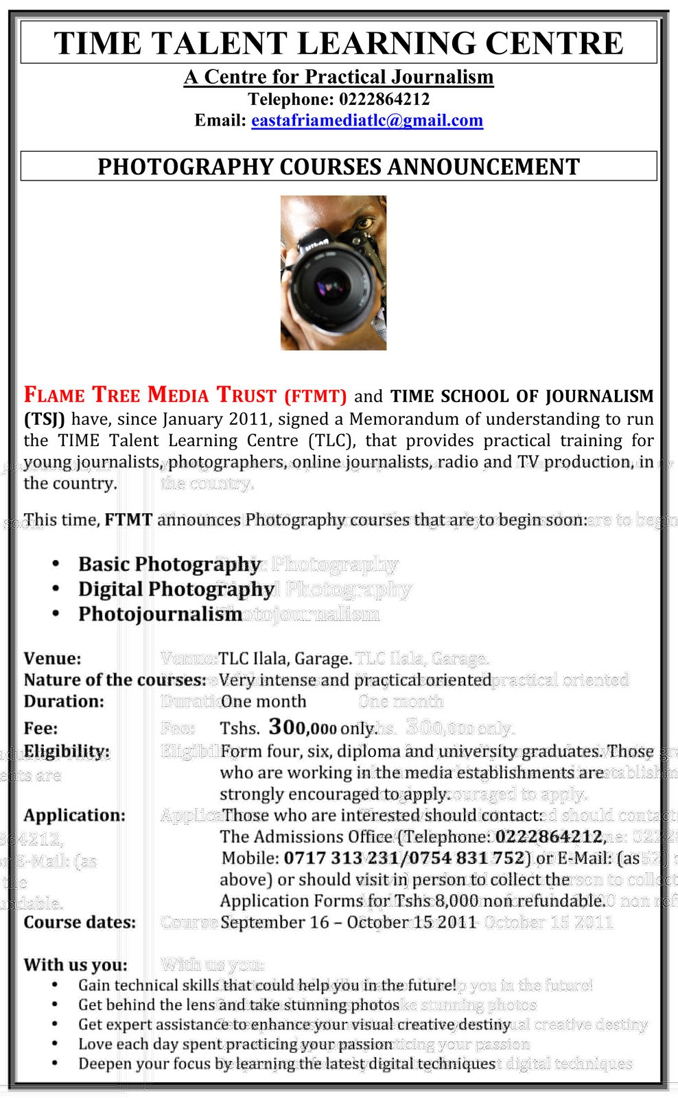 Photography courses Announcement