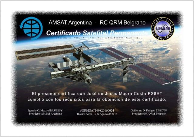 Certificado Satelital nº 24 - AMSAT Argentina RC QRM Blegrano