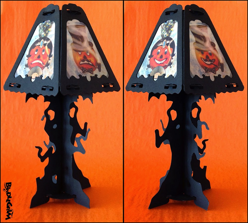 Bindlegrim's vintage-style paper lanterns for Halloween feature black silhouette shapes and traditional-style artwork.