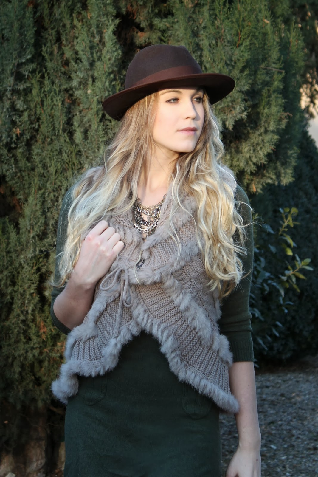 urban outfitters necklace, bcbg hat