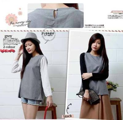 Atasan Long Sleeves Grey Blouse - 10332