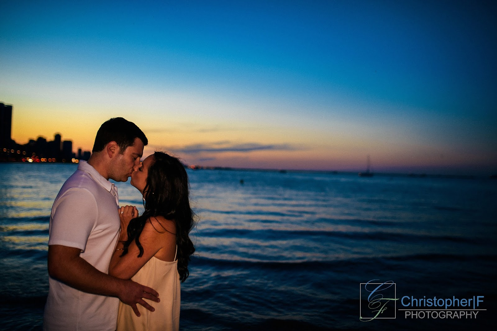 Chicago Skyline Sunset Engagement Photo