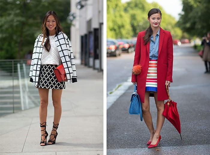 street style fashion week spring 2014, red, geometric prints