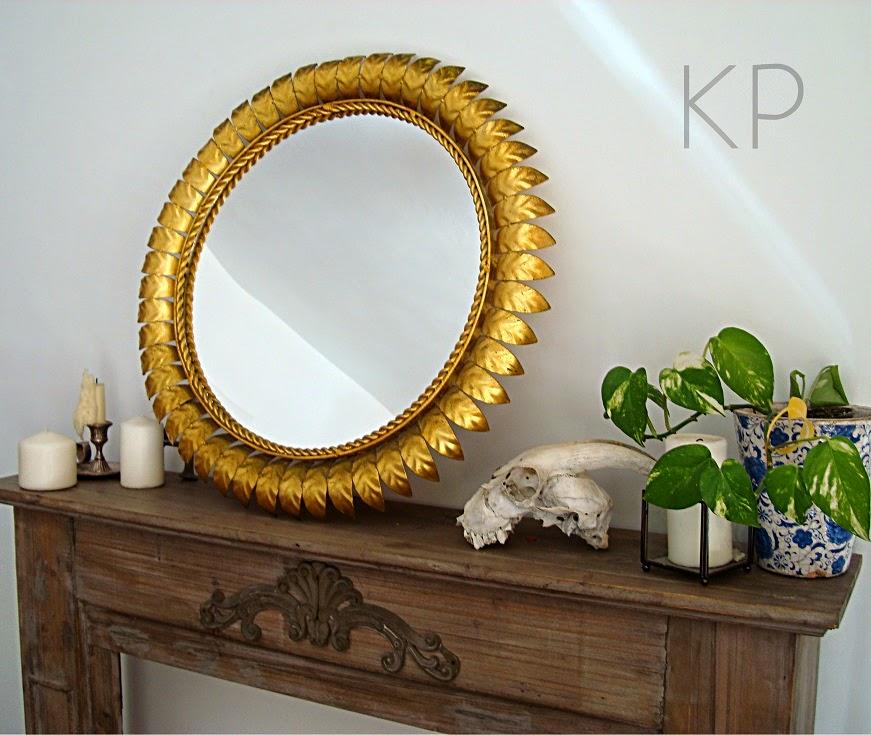 Espejo sol redondo vintage dorado con pan de oro