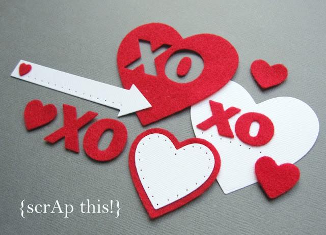 {scrAp this!} fuzzy felt XO hearts - red