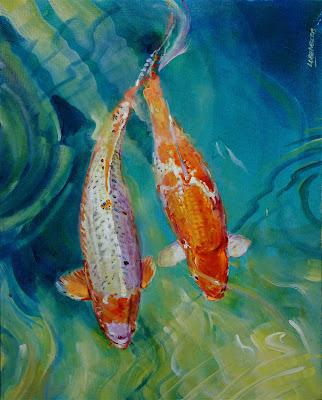 David lobenberg koi acrylic class for Easy fish painting