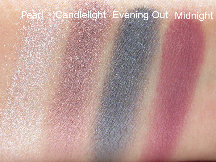 Artistry Little Black Dress Eyeshadow Palette - Swatches feucht - Pearl, Candlelight, Evening Out, Midnight
