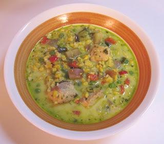 salmon & corn chowder with pesto