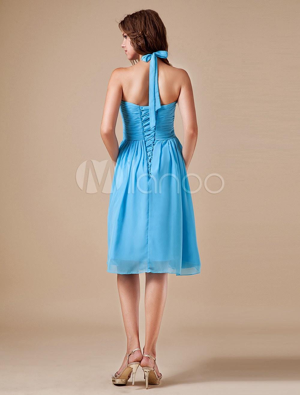 China Wholesale Dresses - Blue Halter Chiffon Knee Length Womens Bridesmaid Dress