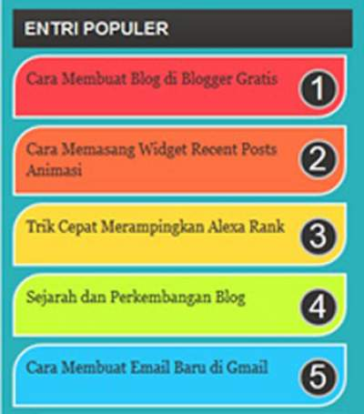 Cara Memasang Widget Popular Posts Rainbow