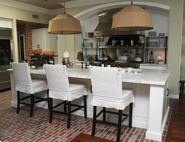 kitchen with brick floor - photo #29