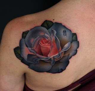 colored rose tattoo