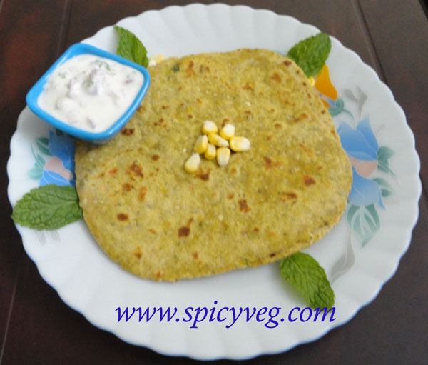 World Of Vegeterian Recipes: Sweet Corn Mint Paratha