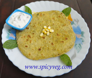 Sweet Corn Mint Paratha