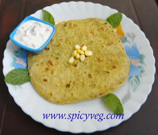 Sweet Corn Mint Paratha