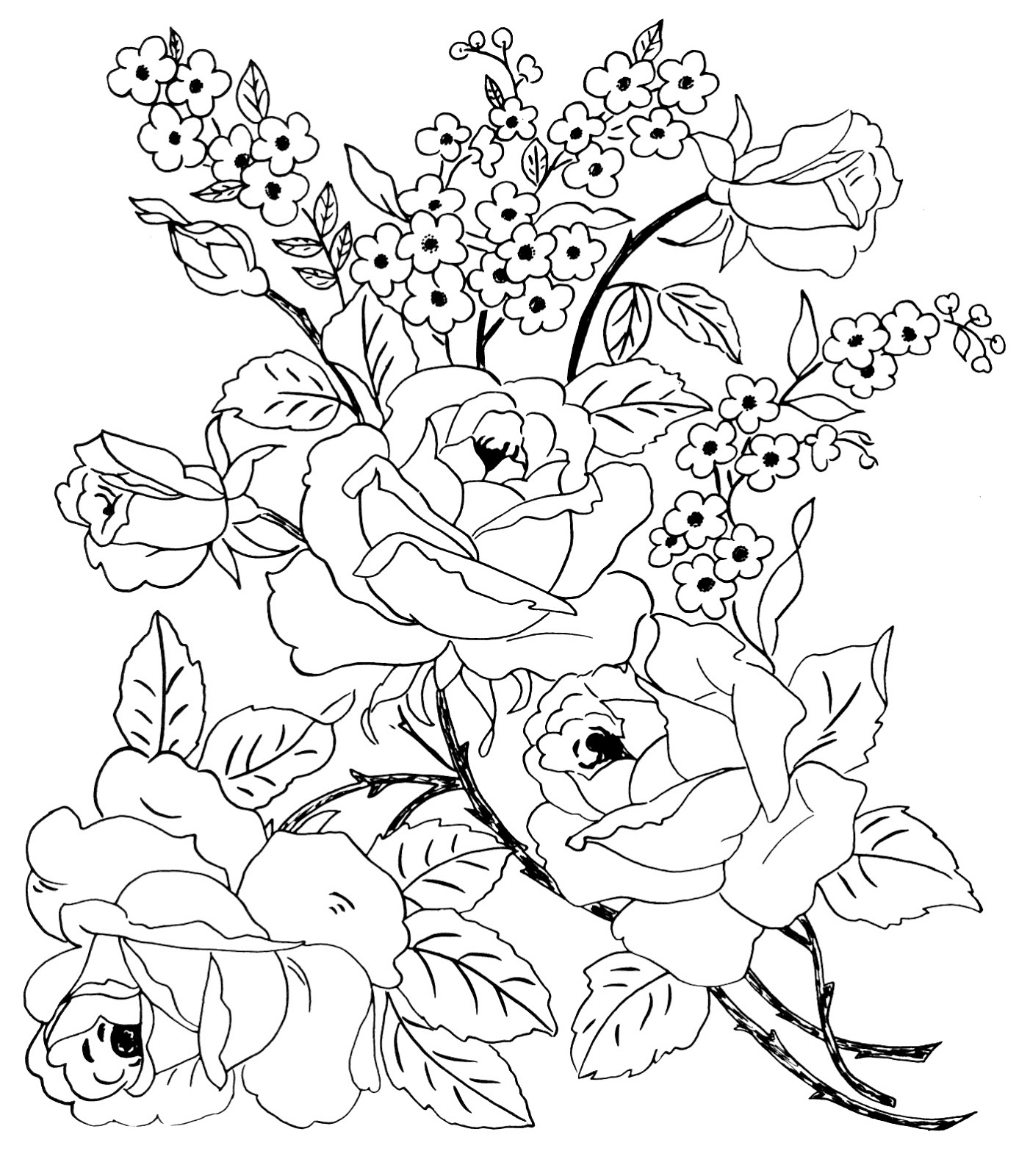 Coloring Pages Of Cool Flower Designs Digital Two for...