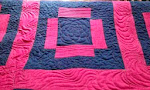 Quilting close-up Problem Child/Pinked Out in Wonky Denim