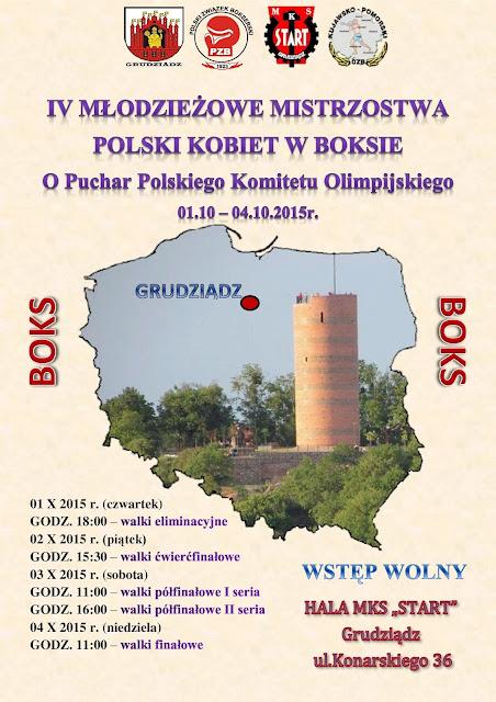IV Młodzieżowe Mistrzostwa Polski Kobiet w Boksie - Grudziądz 2015!