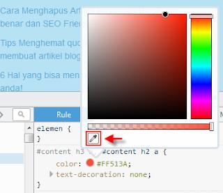 Cara mendapatkan kode warna hexadecimal css dan html