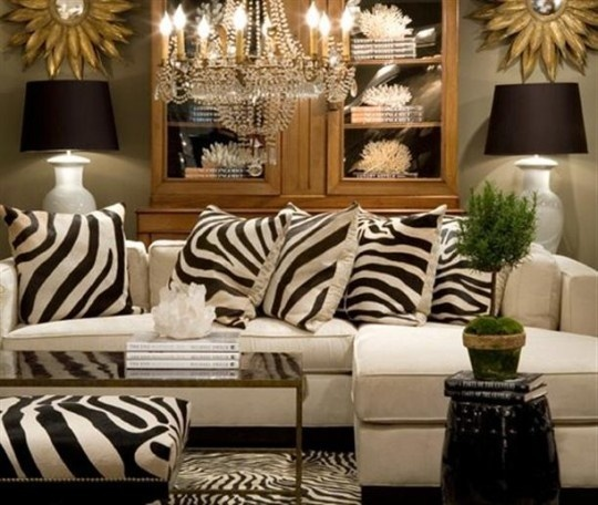 Zebra Hide Pillows Hide Ottoman