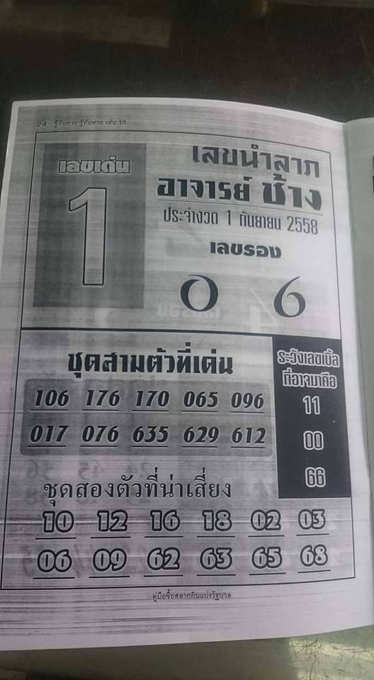 Thai lotto tip 001 thailand lottery tip exclusive paper 01 09 2015
