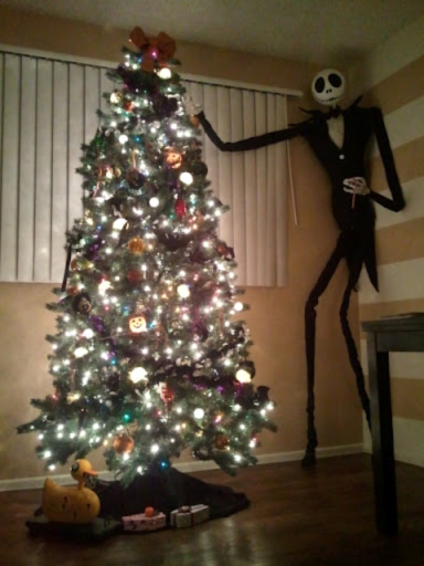 look who i found decorating the tree - Jack Skellington Christmas Tree