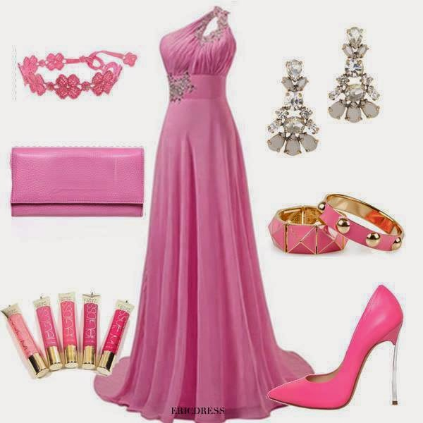 pinkcolored trendy fashion outfits and accessories with long flowy floor length dress and accessories