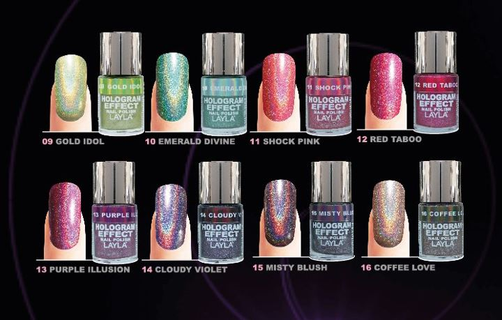 Layla Cosmetics Introduces 8 New Fall Shades For The Hologram Effect Nail Polish In Iridescent That Are Perfect