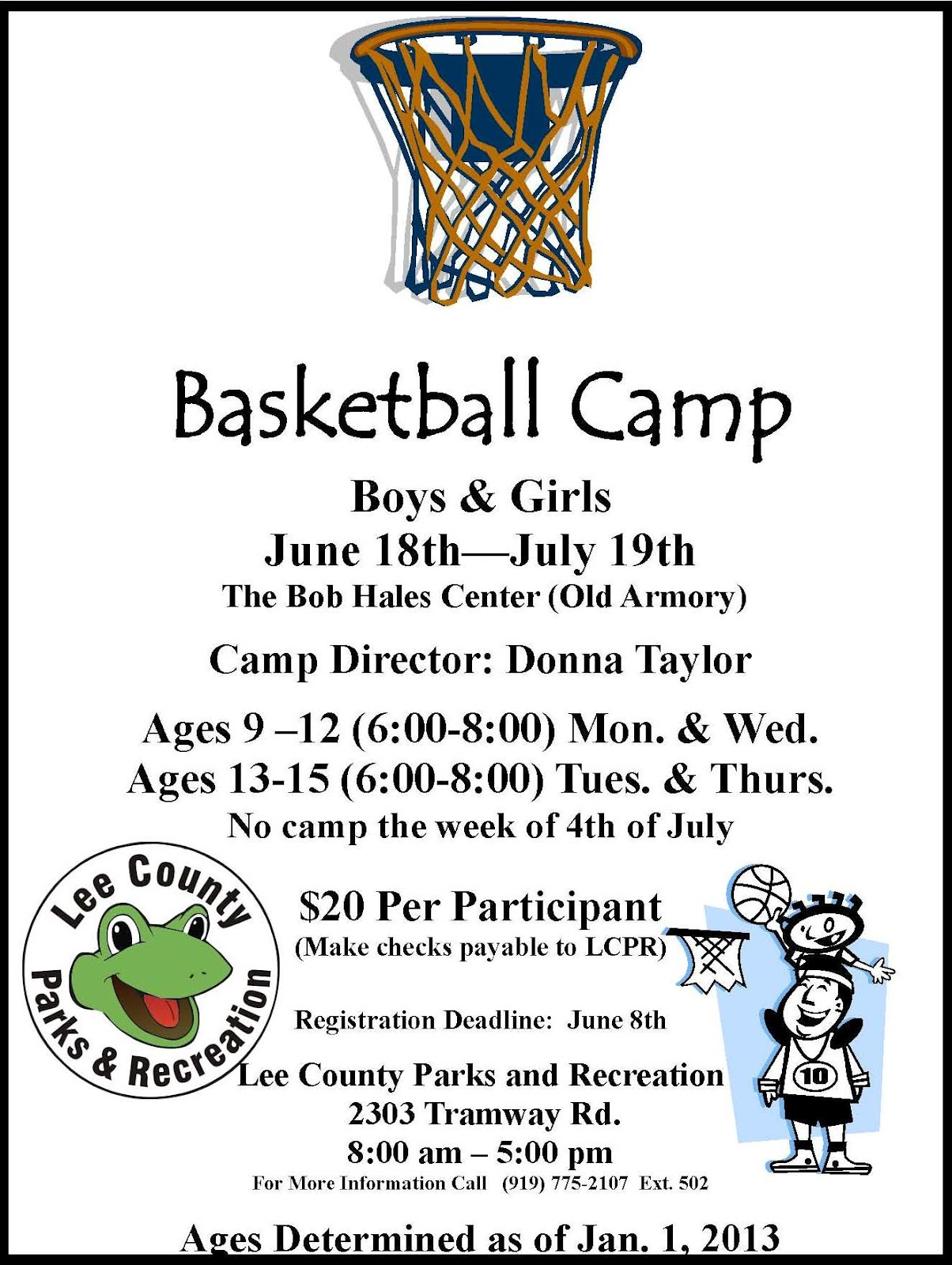 Lee county government basketball camp for Basketball camp brochure template
