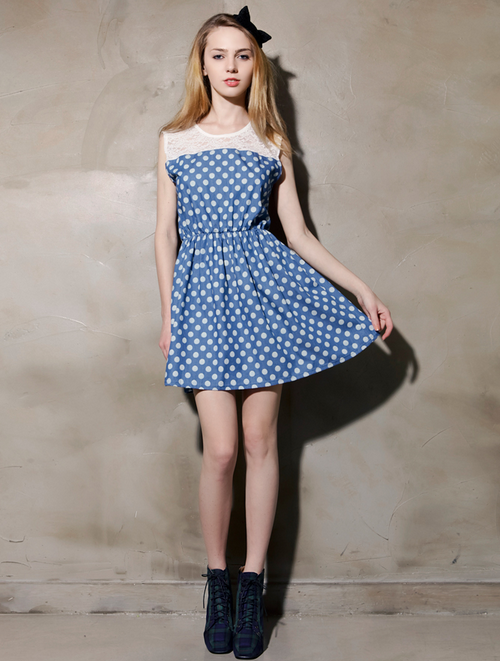 Polka Dot Denim and Lace Dress